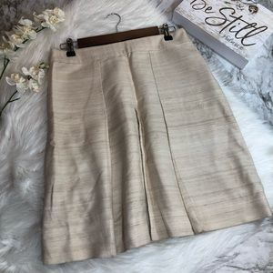 Banana Republic Pleated Skirt Silk Cotton Tan, 4